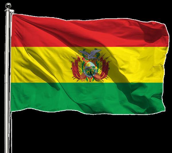 Bolivien mit Wappen Flagge Querformat Premium-Qualität