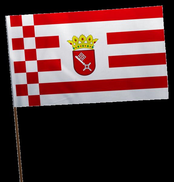 Stockflagge Bremen mit Wappen Premium-Qualität