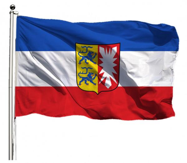 Flagge Schleswig-Holstein mit Wappen Querformat Premium-Qualität