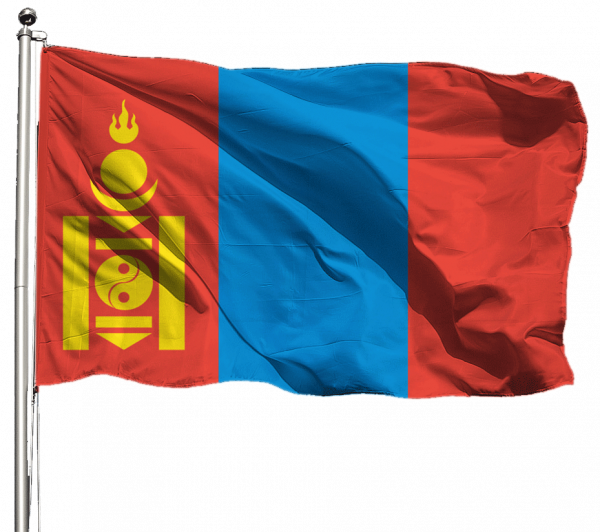 Mongolei Flagge Querformat Premium-Qualität