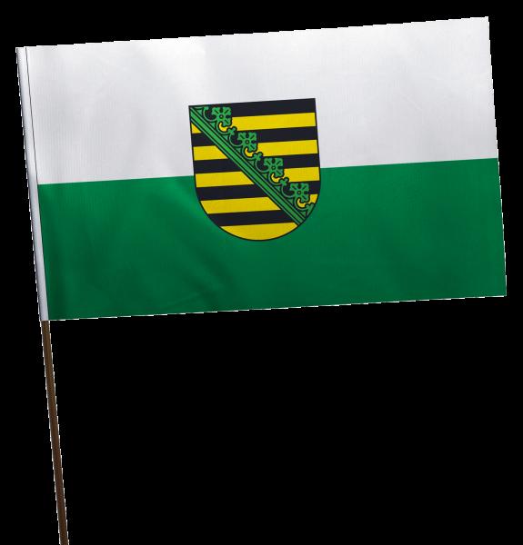 Stockflagge Sachsen mit Wappen Premium-Qualität