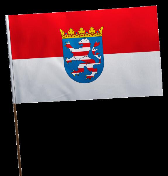 Stockflagge Hessen mit Wappen Premium-Qualität