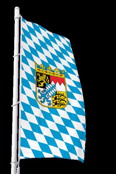 Flagge Bayern Raute mit Wappen im Hochformat Premium