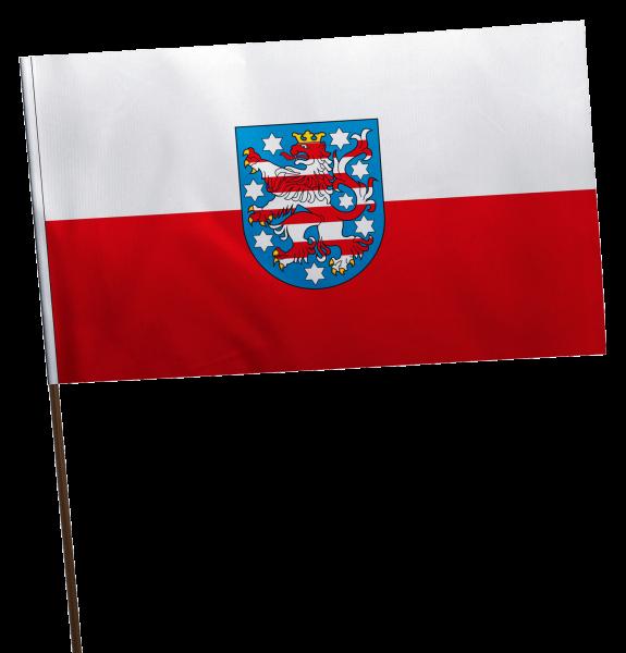 Stockflagge Thüringen mit Wappen Premium-Qualität