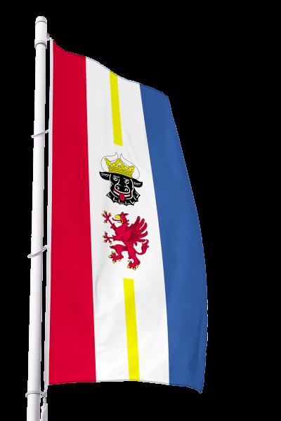 Flagge Mecklenburg-Vorpommern mit Wappen im Hochformat Premium