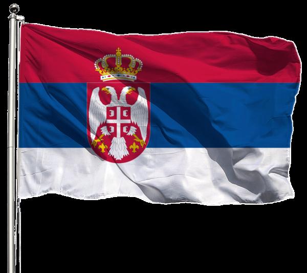 Serbien Flagge Querformat Premium-Qualität