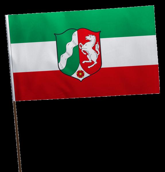 Stockflagge Nordrhein-Westfahlen mit Wappen Premium-Qualität