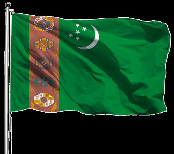 Turkmenistan Flagge Querformat Premium-Qualität