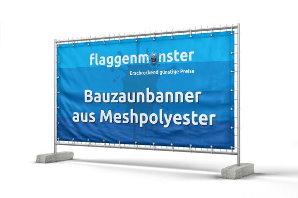 Banner für Bauzäune - 340 x 173 cm - Lochfilet 120 g/m²