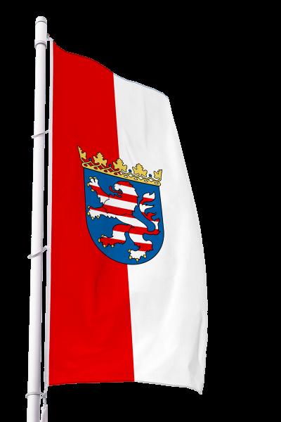 Flagge Hessen mit Wappen im Hochformat Premium