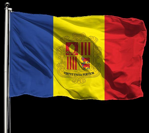 Andorra Flagge Querformat Premium-Qualität