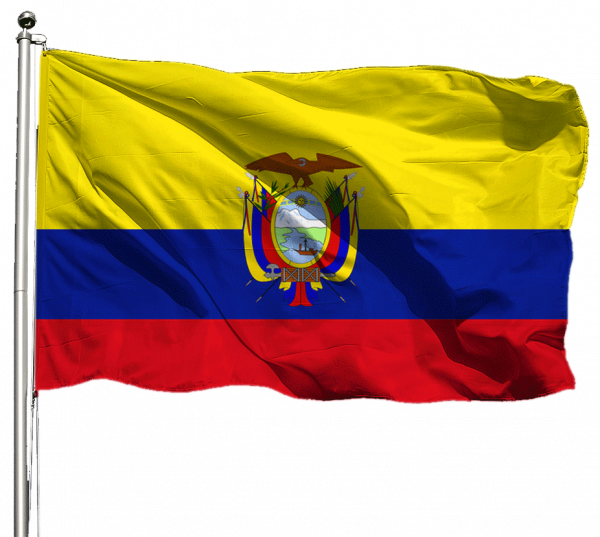 Ecuador mit Wappen Flagge Querformat Premium-Qualität