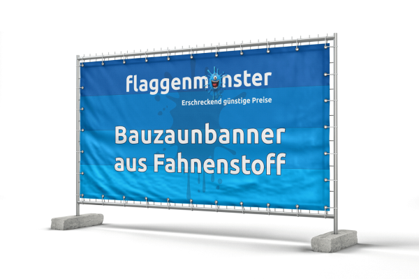 Banner für Bauzäune - 340 x 173 cm - Fahnenstoff 110 g/m²
