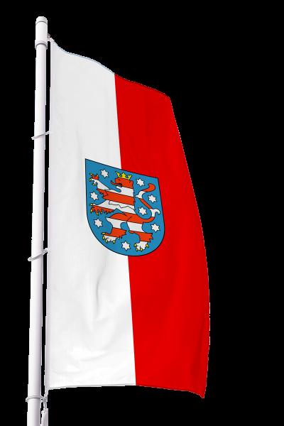 Flagge Thüringen mit Wappen im Hochformat Premium