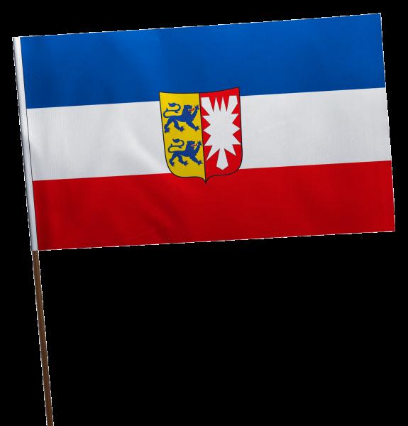 Stockflagge Schleswig-Holstein mit Wappen Premium-Qualität
