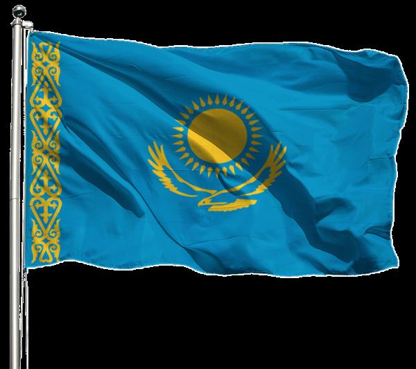 Kasachstan Flagge Querformat Premium-Qualität