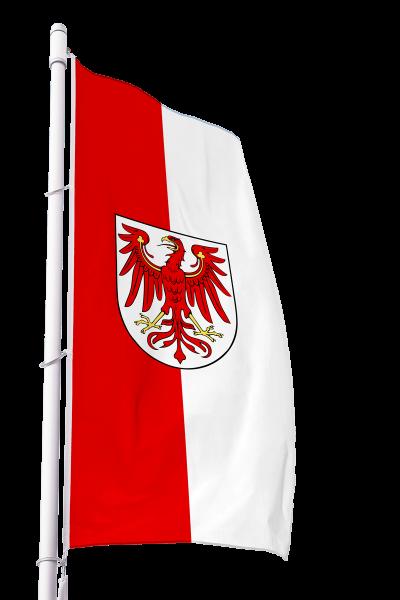 Flagge Brandenburg mit Wappen im Hochformat Premium