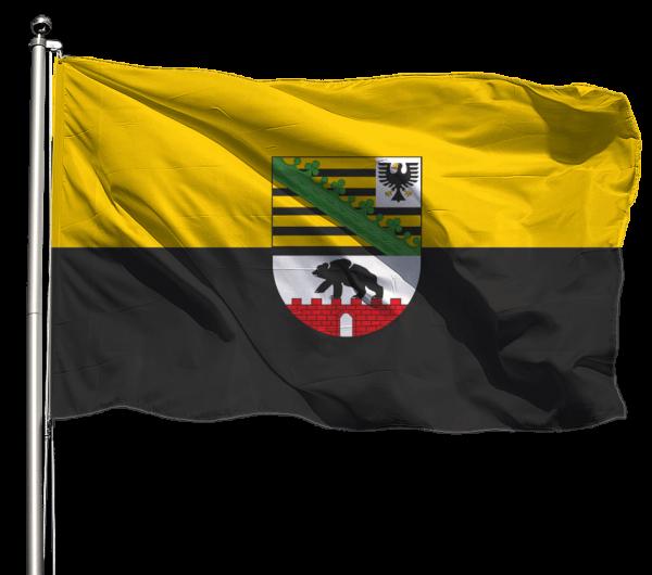 Flagge Sachsen-Anhalt mit Wappen Querformat Premium-Qualität