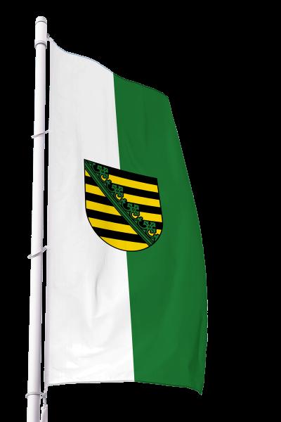Flagge Sachsen mit Wappen im Hochformat Premium
