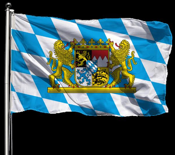 Flagge Bayern Raute mit Wappen & Löwen Querformat Premium-Qualität