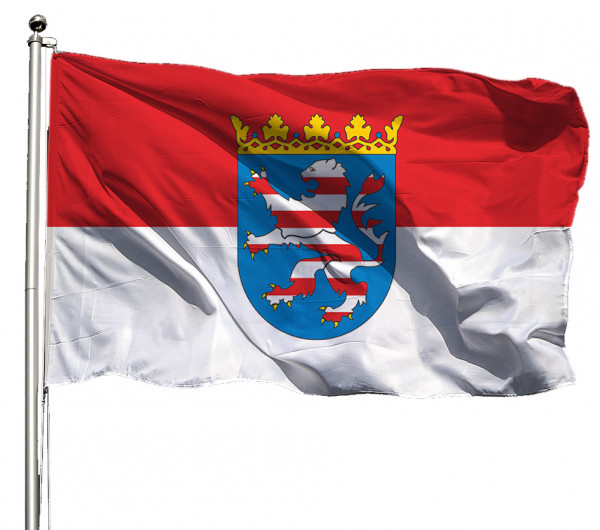 Flagge Hessen mit Wappen Querformat Premium-Qualität