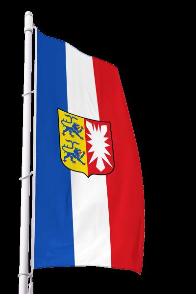 Flagge Schleswig-Holstein mit Wappen im Hochformat Premium
