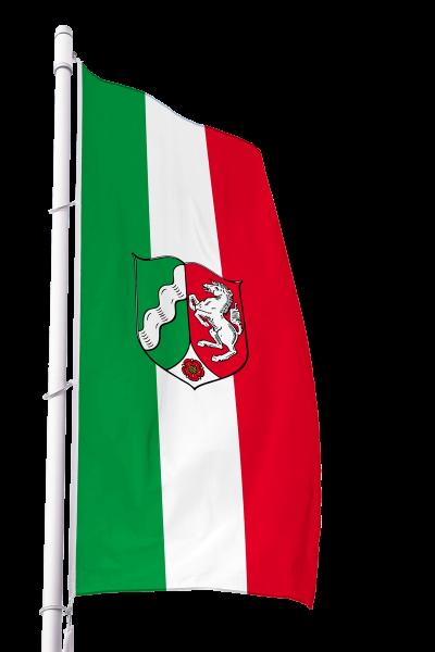 Flagge Nordrhein-Westfalen mit Wappen im Hochformat Premium