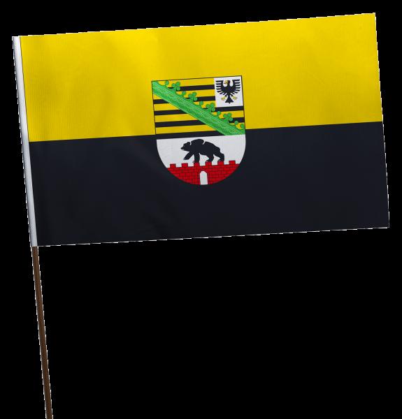 Stockflagge Sachsen-Anhalt mit Wappen Premium-Qualität