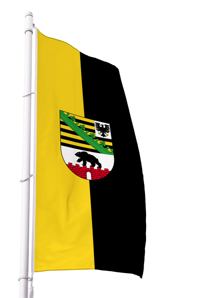 Flagge Sachsen-Anhalt mit Wappen im Hochformat Premium