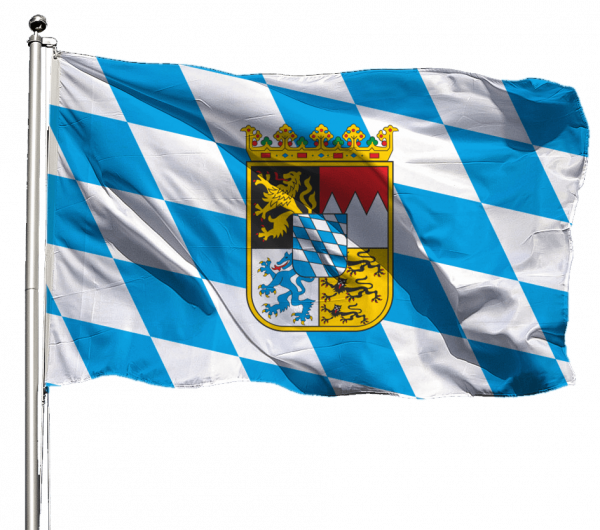Flagge Bayern Raute mit Wappen Querformat Premium-Qualität