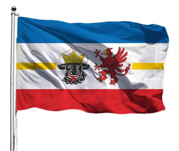 Flagge Mecklenburg-Vorp. mit Wappen Querformat Premium-Qualität