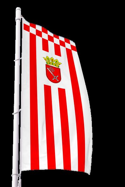 Flagge Bremen mit Wappen im Hochformat Premium