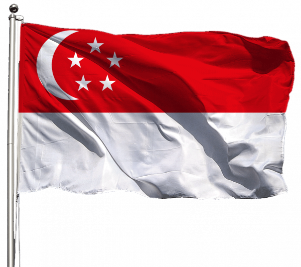 Singapur Flagge Querformat Premium-Qualität