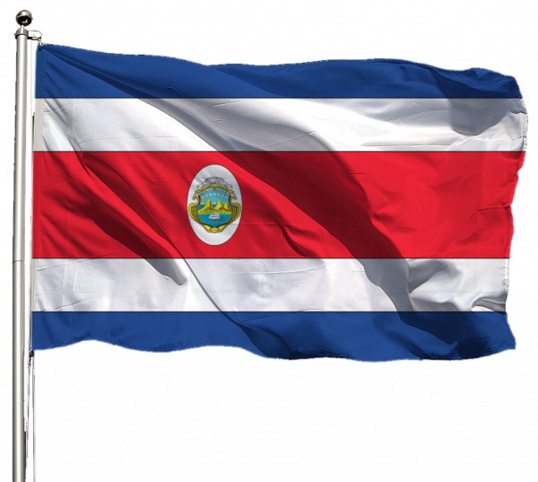 Costa Rica mit Wappen Flagge Querformat Premium-Qualität