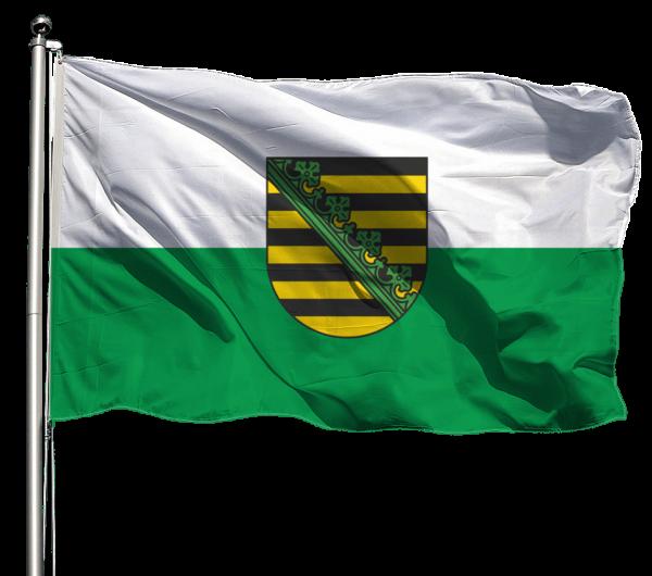 Flagge Sachsen mit Wappen Querformat Premium-Qualität