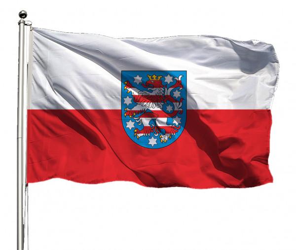 Flagge Thüringen mit Wappen Querformat Premium-Qualität