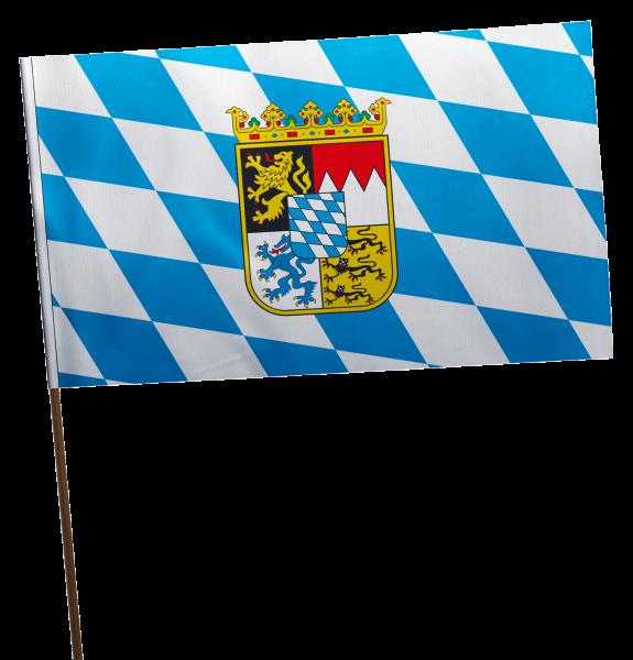 Stockflagge Bayern Raute mit Wappen Premium-Qualität