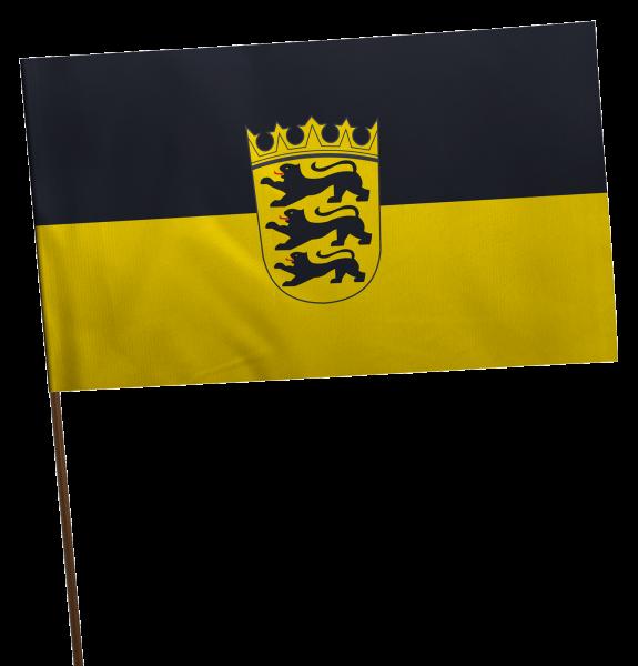 Stockflagge Baden-Württemberg mit Wappen Premium-Qualität